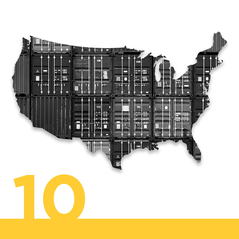 "Map of the United States with crates interposed onto it. ""10"" in the lefthand corner in yellow."