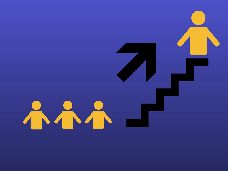 three figures being promoted up a flight of stairs