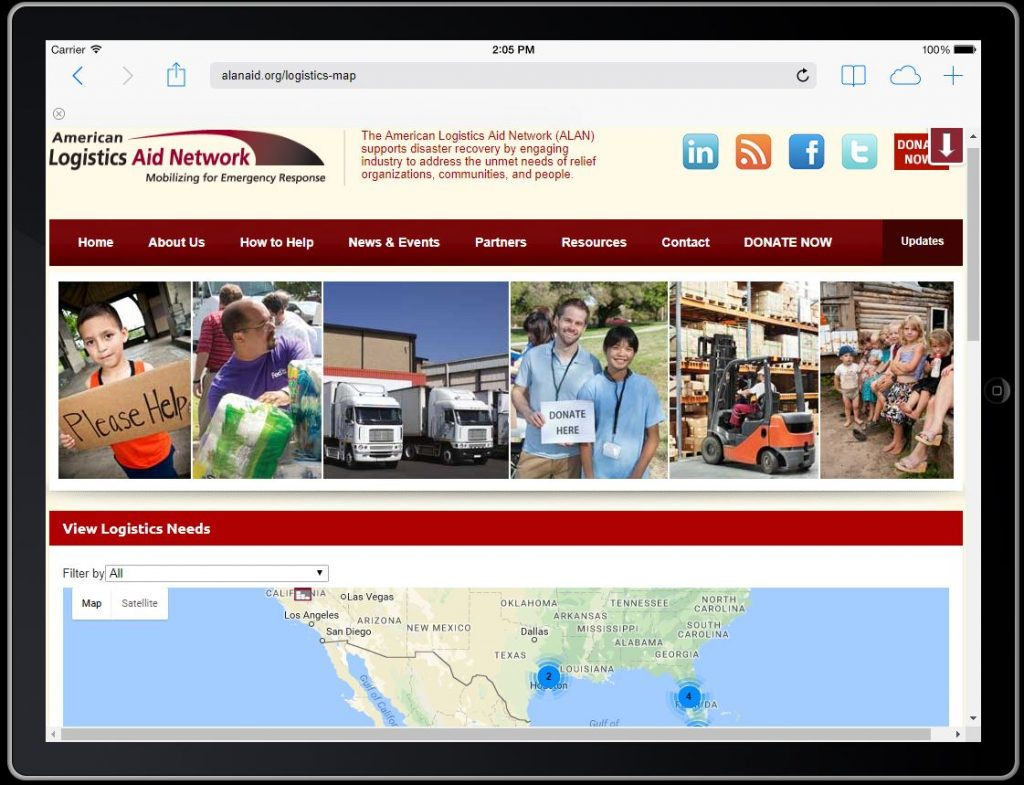 Tablet with ALAN Aid Logistics Needs dashboard