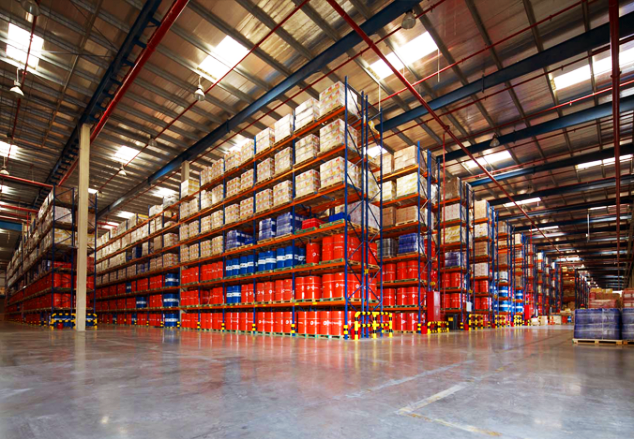 A 3PL warehouse with red crates and blue racks