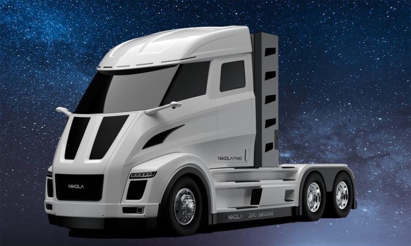 A Tesla semi truck sits against a background of stars.
