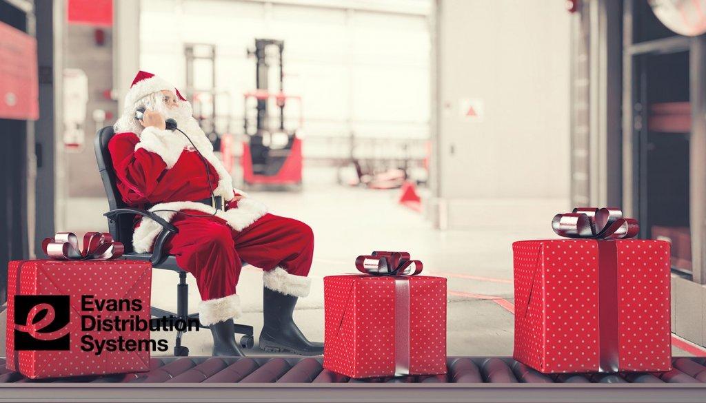 Holiday Warehousing Challenges 2021 image. Santa running a warehouse. Inventory pileup.
